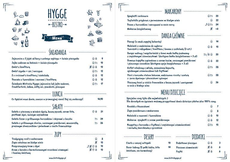 Projekt graficzny menu restauracji Hygge Bistro